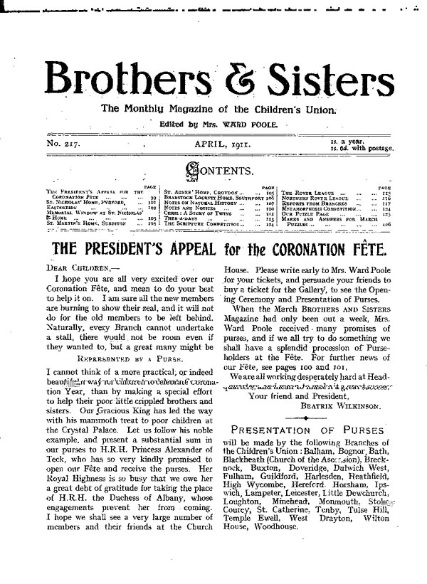 Brothers and Sisters April 1911 - page 1