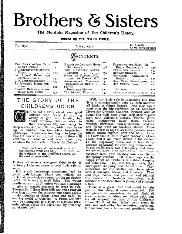 Brothers and Sisters May 1912 - page 1