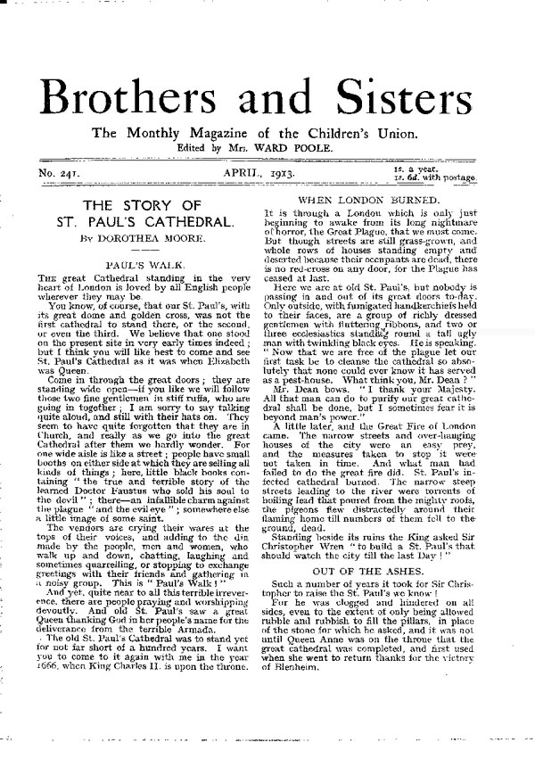Brothers and Sisters April 1913 - page 1