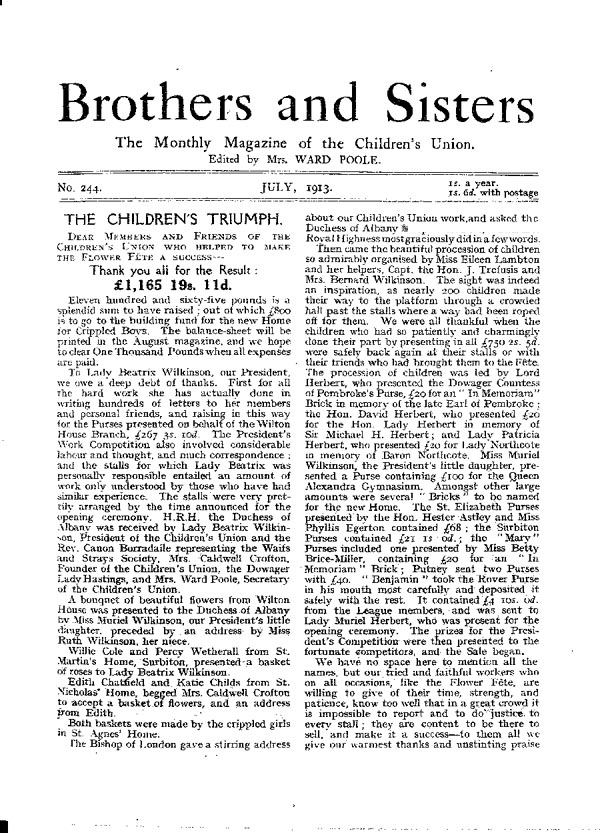 Brothers and Sisters July 1913 - page 1