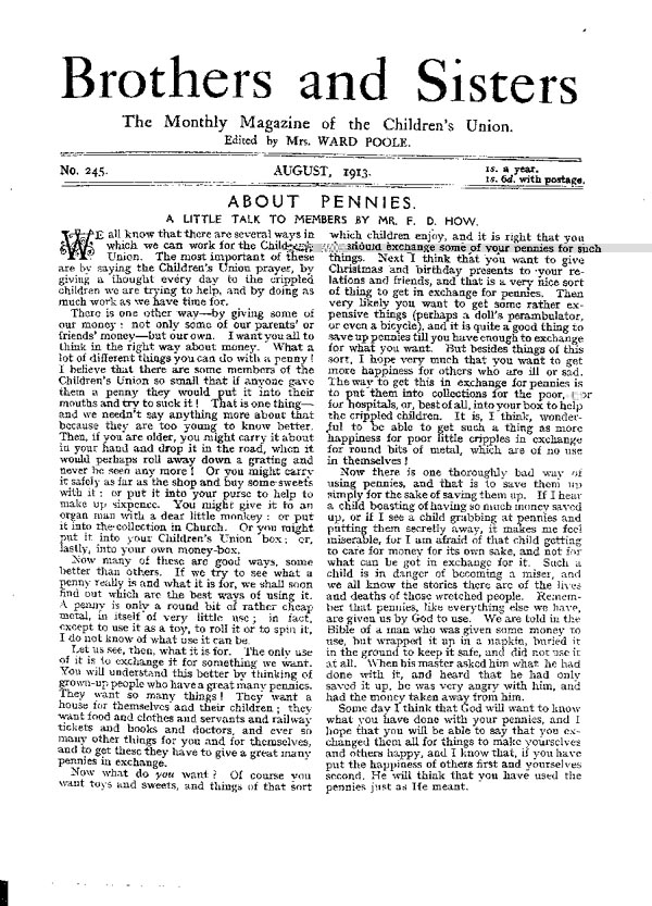 Brothers and Sisters August 1913 - page 1