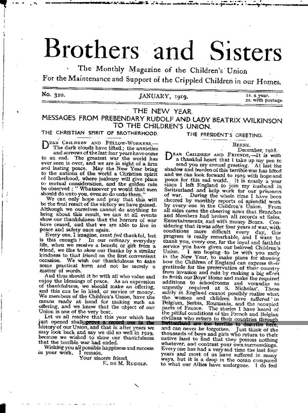 Brothers and Sisters January 1919 - page 1