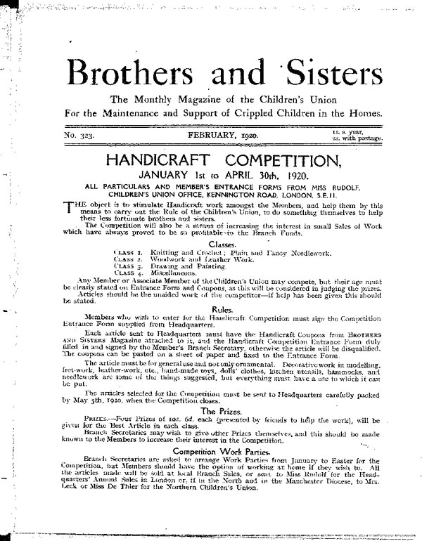 Brothers and Sisters February 1920 - page 1
