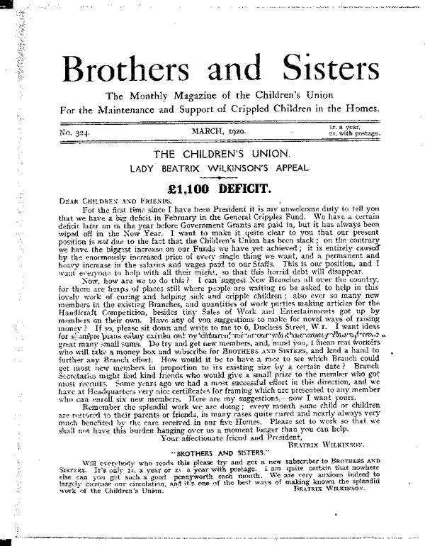 Brothers and Sisters March 1920 - page 1