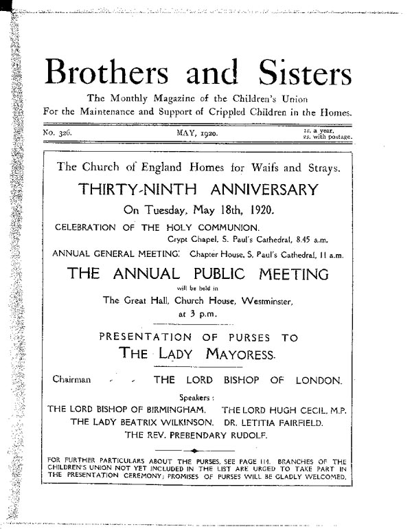 Brothers and Sisters May 1920 - page 1