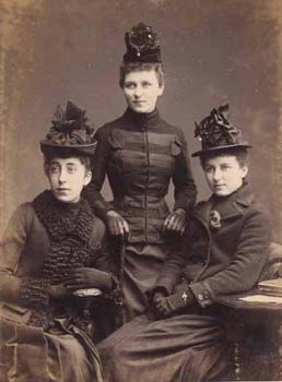Portrait of three fashionable ladies dressed in black. They were probably on one of the Society's committees. They are similar in appearance and may be sisters.