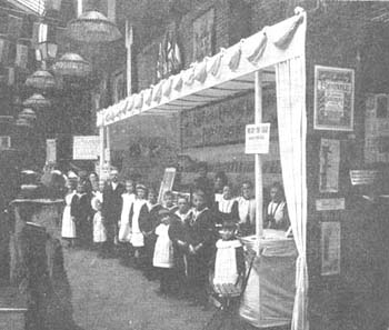 The Society would sell home-made goods at Church events throughout the country. This stall at the annual Church Congress in Brighton, sold hosiery made by the girls from St Chad's. As well as generating some welcome funds for children's homes, these events also brought the Society's work to the attention of the wider public.