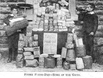 An impressive pile of donations for the Home's 'pound day'. Pound days were one of the ways homes raised funds and cemented links with the local community. They were called pound days because people were asked to donate either a pound in money or a pound in weight of something the home could use, such as material or foodstuffs.