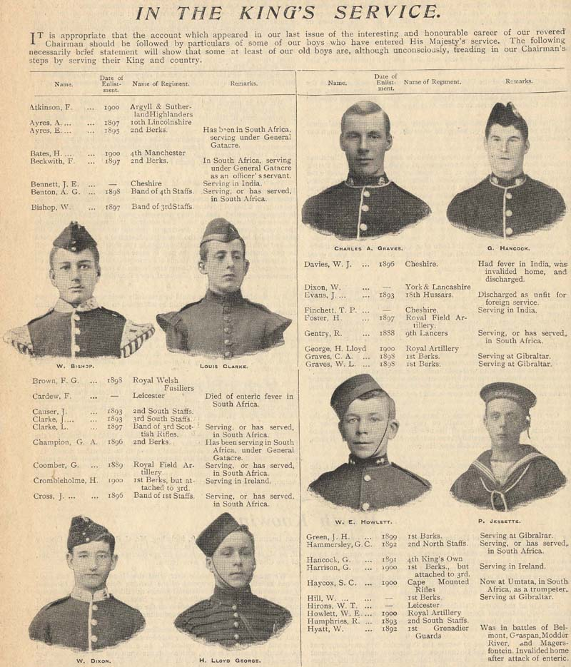 Many old boys went to serve for King and Country in the Boer War at the time of this page from 'Our Waifs and Strays'.