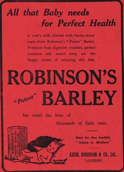 'Our Waifs and Strays' featured adverts from a variety of companies. This Robinson's advert is a particularly charming example.