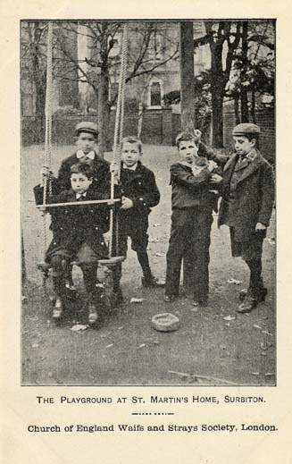 A postcard showing the boys in the Home's playground