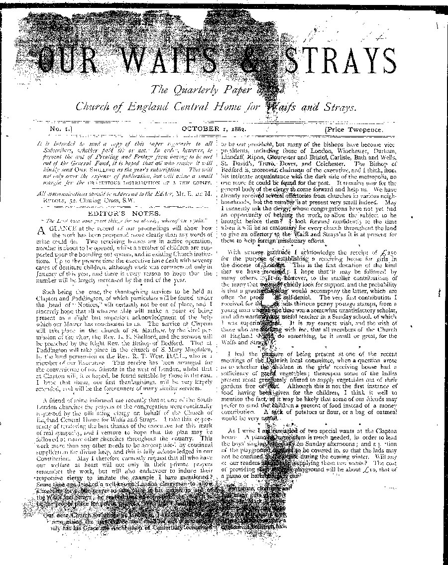 Our Waifs and Strays October 1882 - page 1