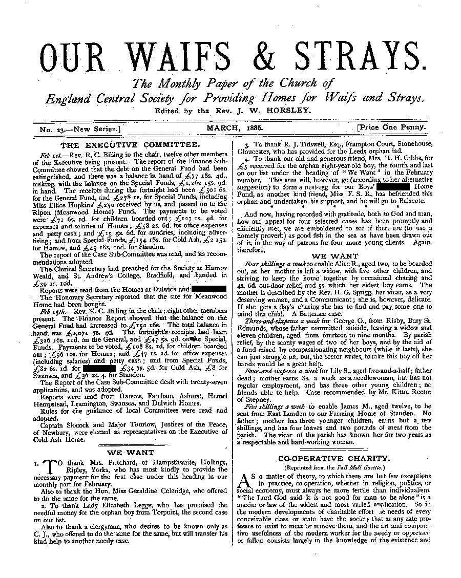 Our Waifs and Strays March 1886 - page 1