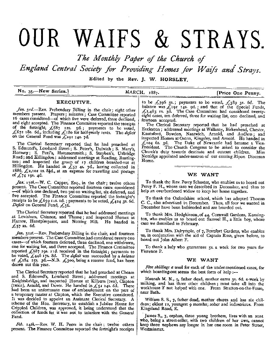Our Waifs and Strays March 1887 - page 1