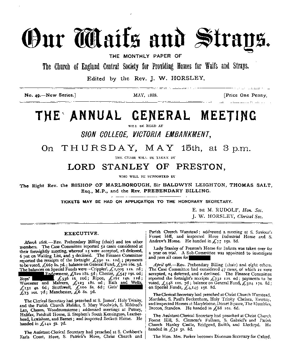 Our Waifs and Strays May 1888 - page 1