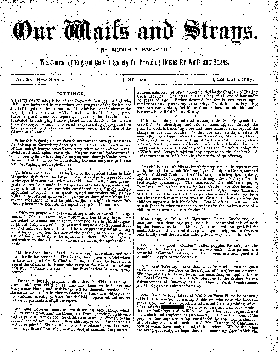 Our Waifs and Strays June 1891 - page 1