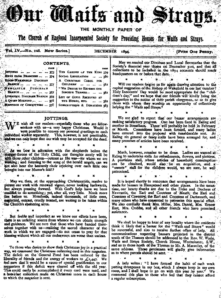 Our Waifs and Strays December 1894 - page 180