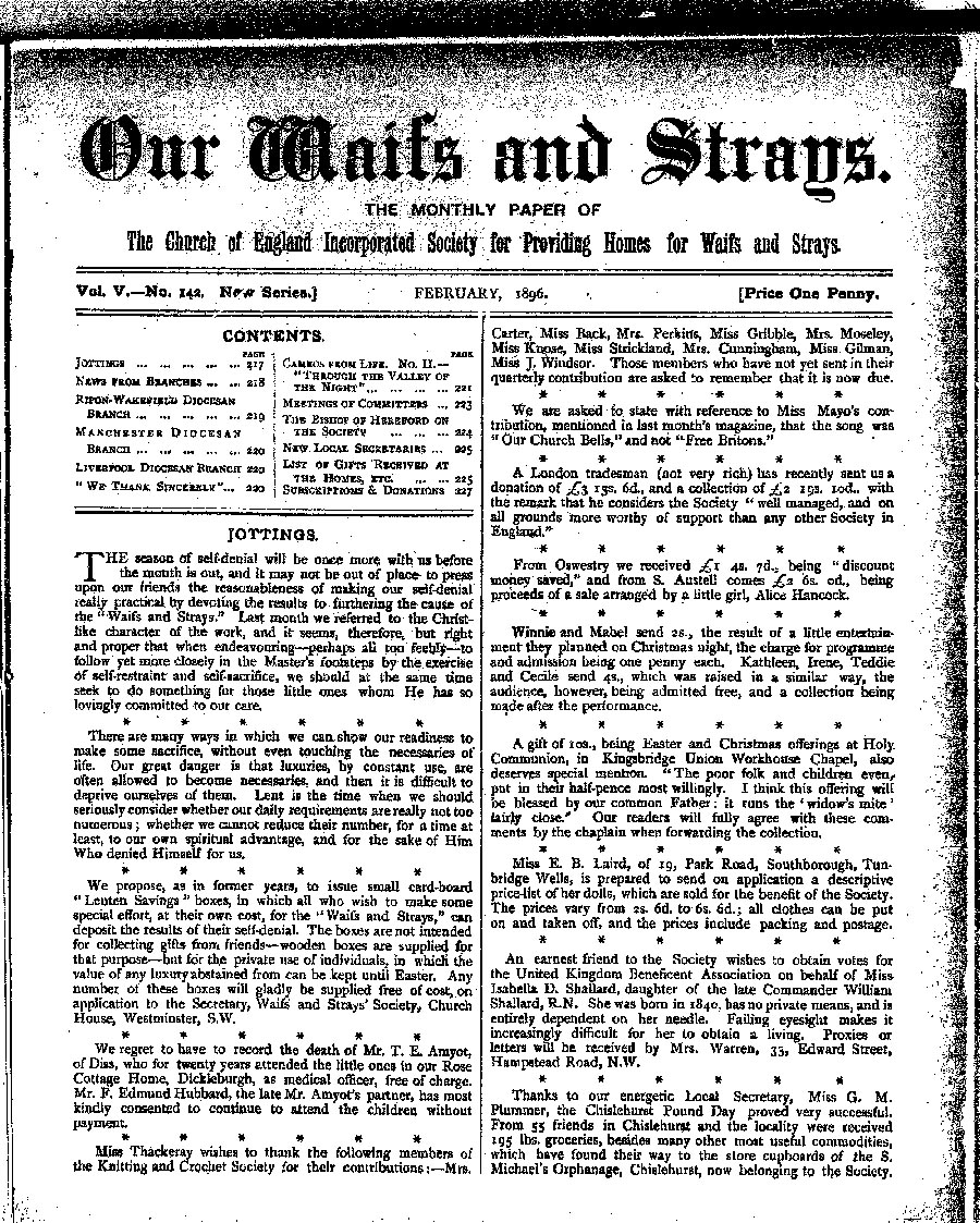 Our Waifs and Strays February 1896 - page 17