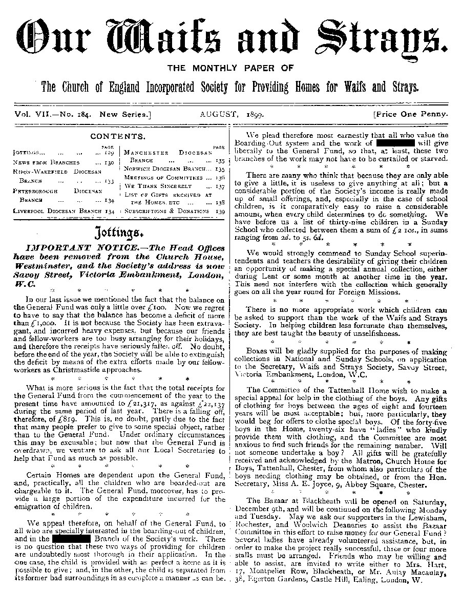 Our Waifs and Strays August 1899 - page 156