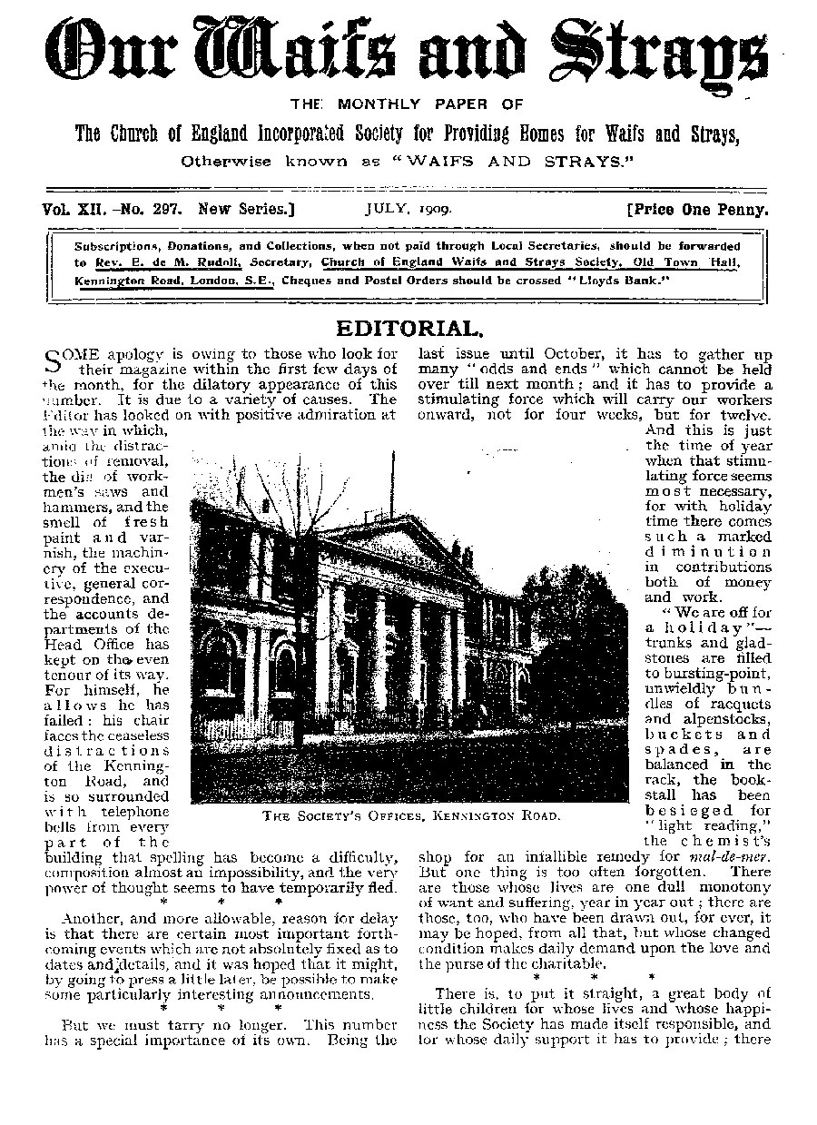 Our Waifs and Strays July 1909 - page 163