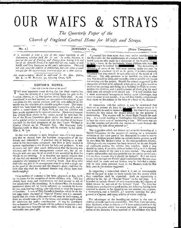 Our Waifs and Strays January 1883 - page 1
