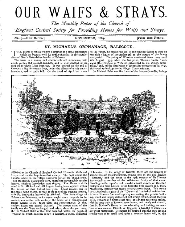 Our Waifs and Strays November 1884 - page 1
