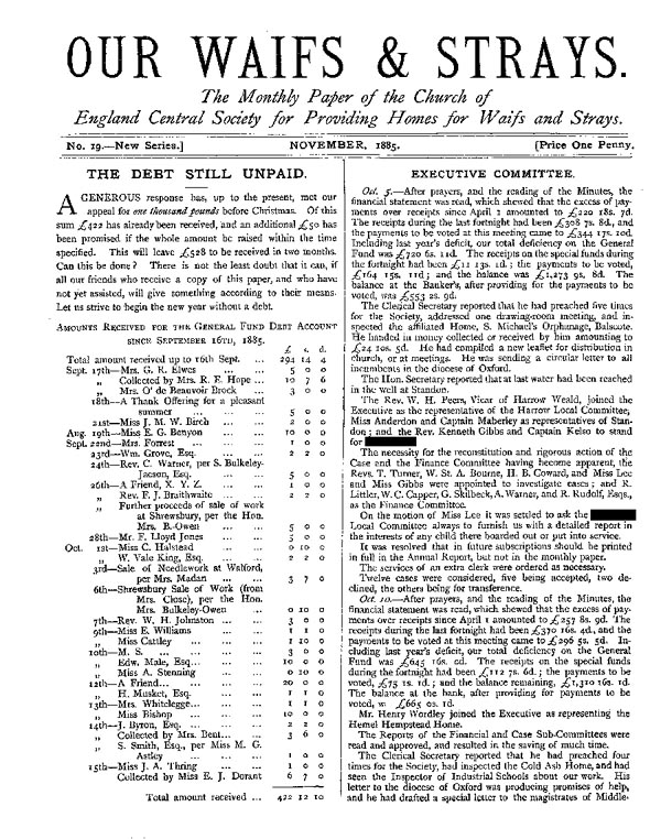 Our Waifs and Strays November 1885 - page 1