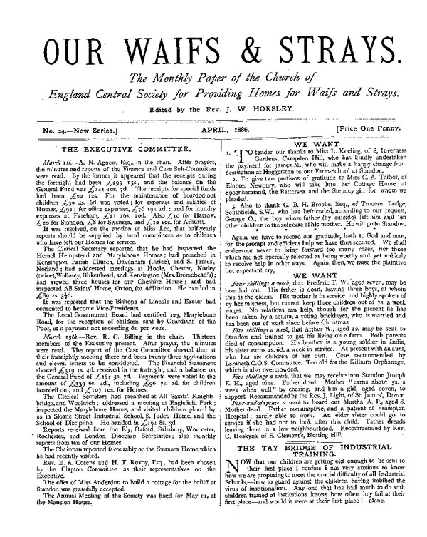 Our Waifs and Strays April 1886 - page 1