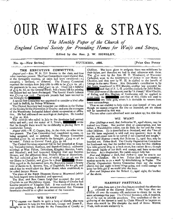 Our Waifs and Strays September 1886 - page 1
