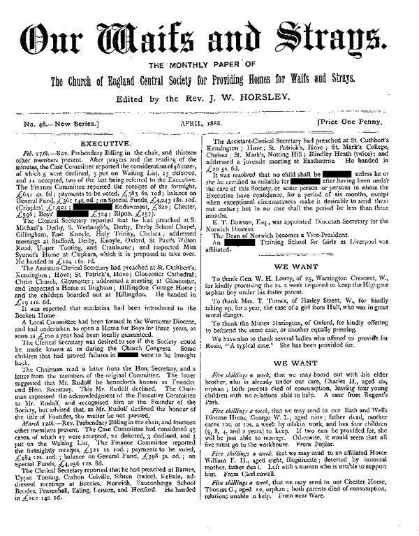 Our Waifs and Strays April 1888 - page 1
