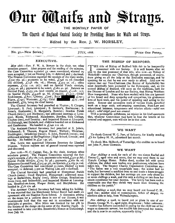 Our Waifs and Strays July 1888 - page 1