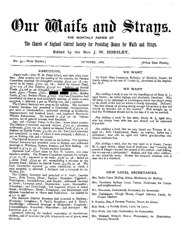 Our Waifs and Strays October 1888 - page 1