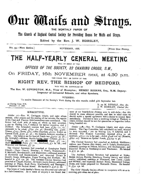 Our Waifs and Strays November 1888 - page 1