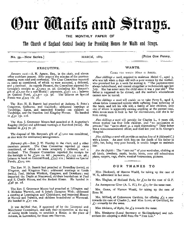 Our Waifs and Strays March 1889 - page 1