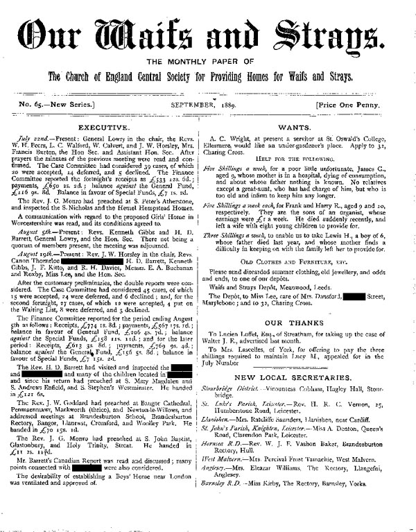 Our Waifs and Strays September 1889 - page 1