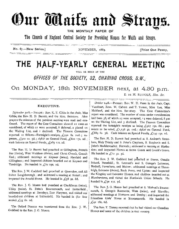 Our Waifs and Strays November 1889 - page 1