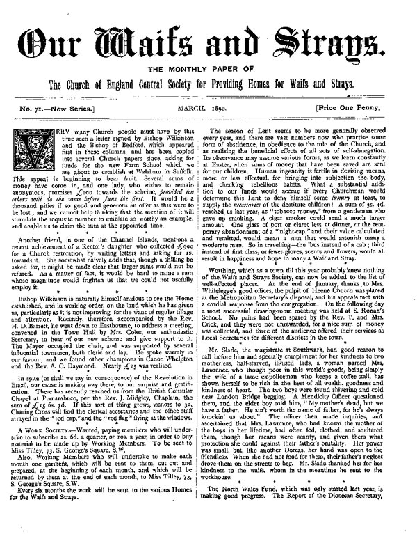 Our Waifs and Strays March 1890 - page 1