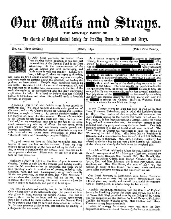 Our Waifs and Strays June 1890 - page 1