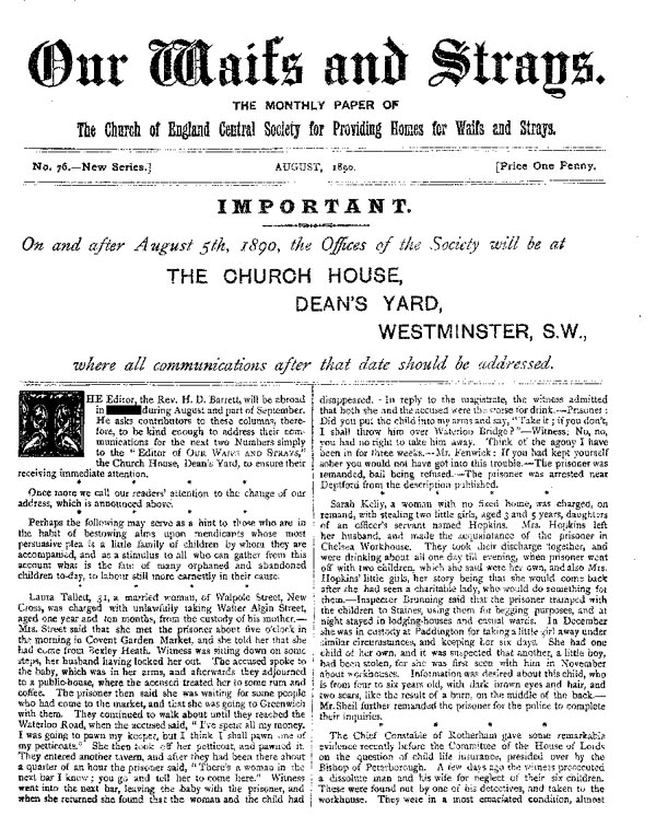 Our Waifs and Strays August 1890 - page 1