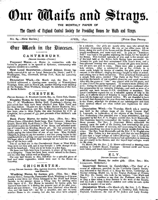 Our Waifs and Strays April 1891 - page 1