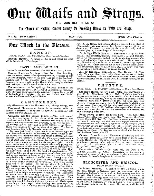 Our Waifs and Strays May 1891 - page 1