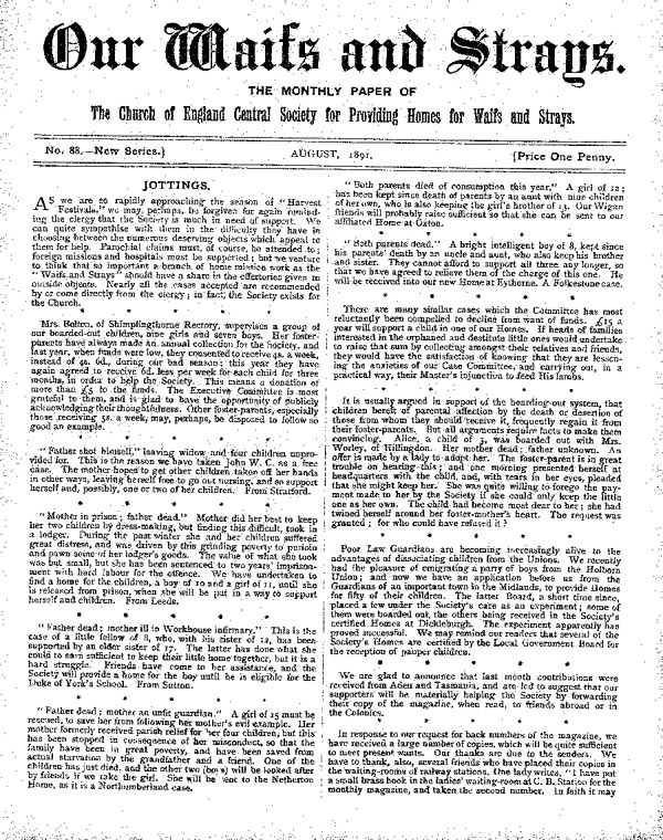 Our Waifs and Strays August 1891 - page 1