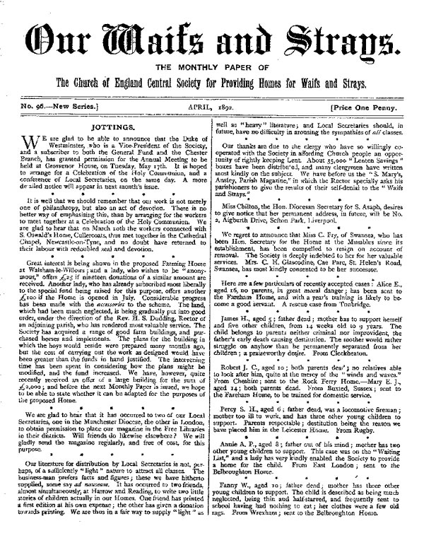 Our Waifs and Strays April 1892 - page 1