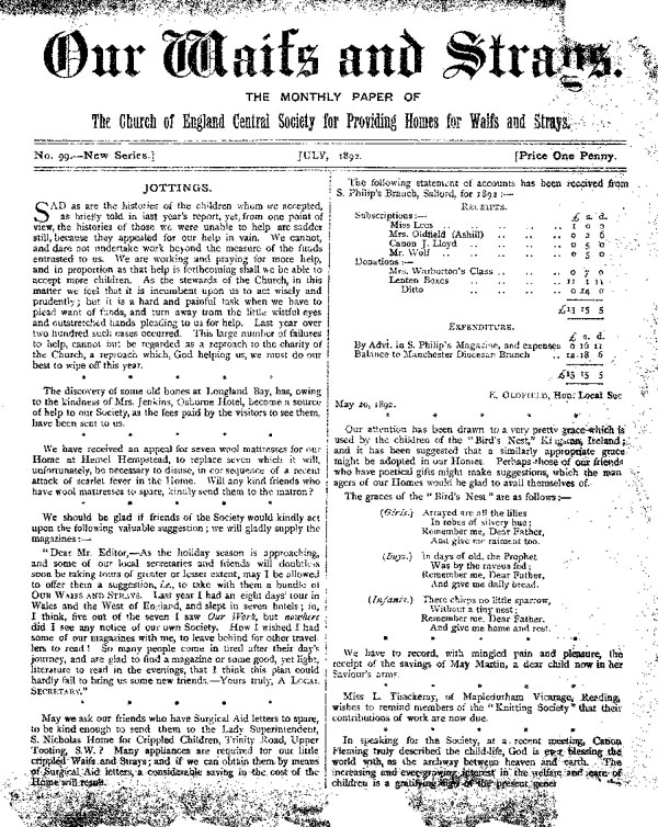 Our Waifs and Strays July 1892 - page 1