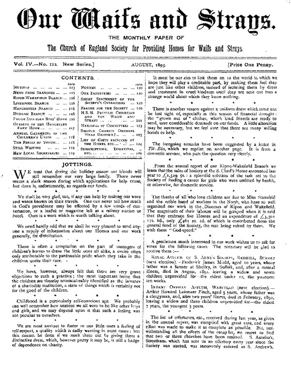 Our Waifs and Strays August 1893 - page 111