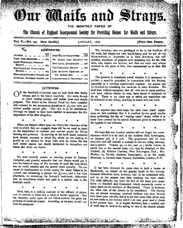 Our Waifs and Strays January 1896 - page 1