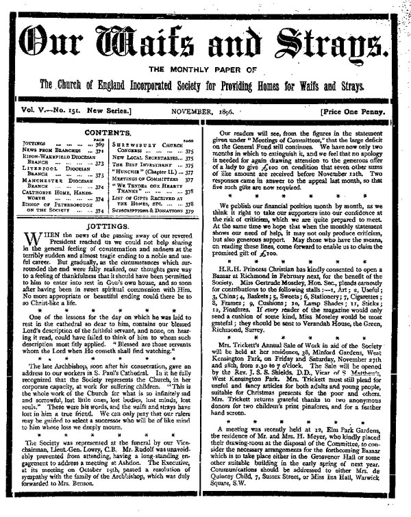 Our Waifs and Strays November 1896 - page 167