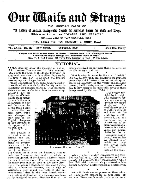 Our Waifs and Strays October 1920 - page 113