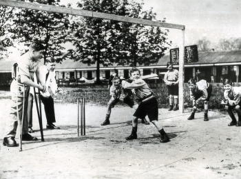 Boys playing cricket at St Martin's Orthopaedic Hospital and School