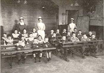 Lessons in the schoolroom were often given by local teachers who volunteered their services.